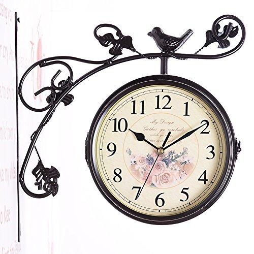 WXIN Montres Mute Art Déco Fer Réveil Horloge Double Face Noir Horloge Murale Mute 32*9*31