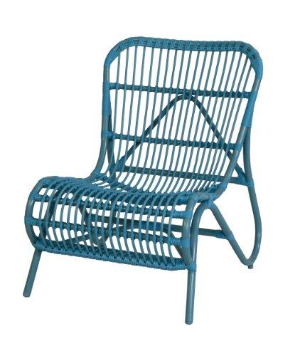 "Moderner OUTDOOR Liege-Stuhl ""Holiday"" im Retro-Design / Garten-Sessel aus stabilem Aluminium in Trendfarbe (Blau)"