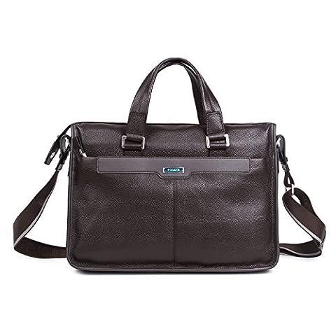 Men's Genuine Leather Briefcase Business Handbag Laptop Shoulder Bag Satchel for Work (Brown)