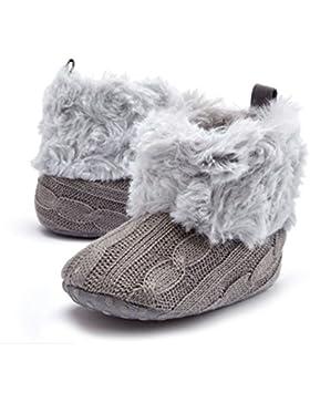 ModaKeusu Baby M?dchen stricken weichen Pelz Winter warme Schnee Stiefel Krippe Schuhe