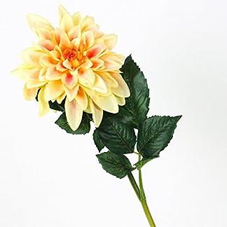 artplants.de Dalia Artificial, Amarillo, 80cm, Ø 20cm – Flor Decorativa – Dahlia sintética
