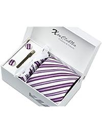 Coffret Cadeau Ensemble Cravate homme, Mouchoir de poche, épingle et boutons de manchette Rayures Violettes et Blanches