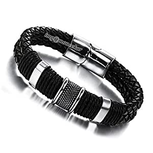Moneekar Jewels Black Leather Braided Bracelet for Men
