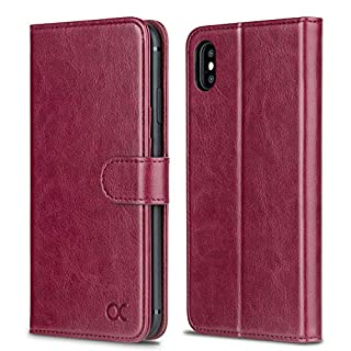 OCASE iPhone XS Max Case, iPhone XS Max Wallet Case, iPhone XS Max Leather Case with Auto Wake/Sleep, TPU Inner Shell, Flip Cover Compatible with iPhone XS Max (6.5 inch) -Burgundy