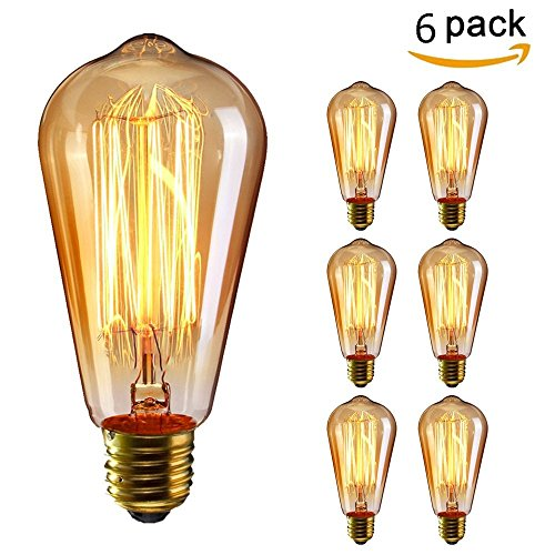 KINGSO 6 Pack E27 Edison Ampoules à Incandescence Vintage Lampe Filament ST64 40W 220V Blanc Chaud Idéal pour Nostalgie et Eclairage Antique