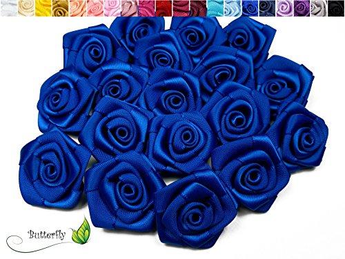 hundeinfo24.de 10 Stk. Satinrosen 3cm ( blau / königsblau 352 ) // Rosen 30mm Stoffrosen Satin Satinröschen Rosenköpfen deko Basteln Tischdeko Dekoration Streudeko Hochzeit Taufe Kommunion Blumen Applikationen