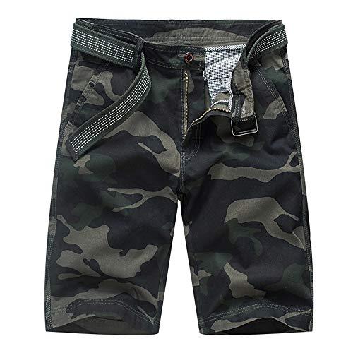 Aiserkly Herren Camouflage Multi-Pocket Cargo Short Arbeitshose Gürtel Hose Kurze Lockere Bequeme Stoffhose Hosen -