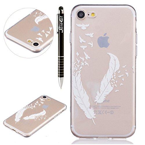 iPhone 7 Plus Hülle,iPhone 7 Plus Silikon Schutz Handy Hülle Kratzfeste Tasche Handyhülle [Mit 1 X Frei Stylus Stift ], SainCat iPhone 7 Plus Gel Case Weiche Schutzhülle Karikatur Muster Silikon Cryst Weiße Federn