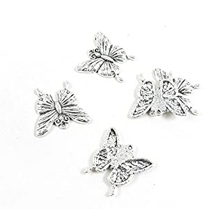 A8UI5A Schmuck-Charm-Anhänger Schmetterling Antik-Silber 50 Stück