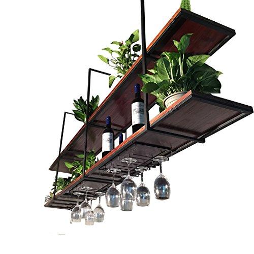 JHXGDJ Eisen Deckenregal Deckenregal LOFT Retro-Massivholz Schmiedeeisen Restaurant Front Regal Rack Regal Ra (Farbe : B, größe : 120*30*80cm) (Front Massivholz)