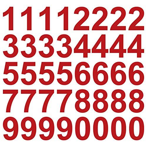 kleb-Drauf® | 40 Zahlen, Höhe je 10 cm | Rot - glänzend | Wandtattoo Wandaufkleber Wandsticker Aufkleber Sticker | Wohnzimmer Schlafzimmer Kinderzimmer Küche Bad | Deko Wände Glas Fenster Tür Fliese
