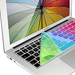kwmobile Protection Clavier en Silicone AZERTY (France, Belgique) pour Apple MacBook Air 13''/ Pro Retina 13''/ 15'' (à mi 2016) Arc-en-Ciel Multicolore-Vert-Bleu