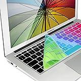 kwmobile protection clavier en silicone AZERTY (France, Belgique) pour Apple MacBook Air 13''/ Pro Retina 13''/ 15'' (à mi 2016) Design dégradé de couleurs multicolore vert bleu