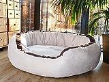tierlando® LA3-05 LANA Canapé-lit pour chien de très grande taille en velours et rembourré, Taille M 80 cm, couleur crème