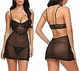 ADOME Damen Sexy Spitzen Transparent Dessous Set Reizwäsche Babydoll Nachtkleid Frauen Kleid, Schwarz, Gr. S