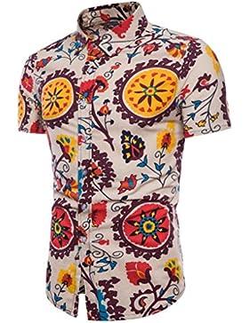 LHWY Camicia Estiva Elegante Coreana da Uomo A Maniche Corte con Stampa A Maniche Corte