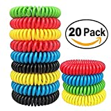 GreeSuit Bracelets anti-moustiques -20 pack - sans déconnexion, tout naturel - bandes répulsives contre les insectes protection intérieure et extérieure bandes de poignets étanches pour enfants