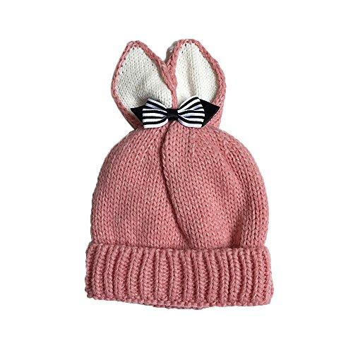 ZIYOU Baby Mädchen Strickmütze Bowknot Kaninchen Ohrform Hut Warme (Rosa) (Elastic Newsboy Baumwolle Cap)