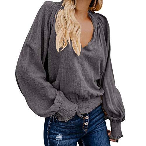 (B-commerce Womens Cotton Linen Bluse - Damen Solide Langarm Lose V-Ausschnitt Tops Elastischer Saum Einfaches Loses Hemd)