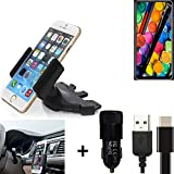 K-S-Trade® Top Set pour TCL PLEX Porte-Voiture Titulaire Smartphone Fente CD Holder Support Radio Noir + Chargeur