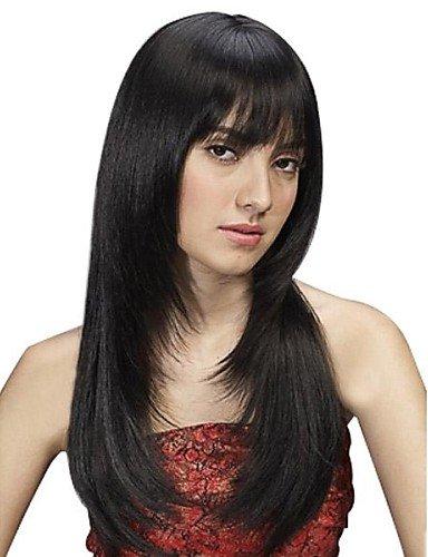 Droite longue perruque cheveux synthétique Noir