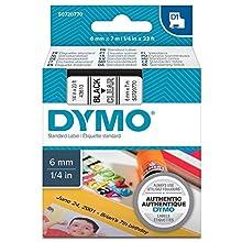 Dymo D1 Etichette Autoadesive per Stampanti LabelManager, Rotolo da 6 mm x 7 m, Stampa Nero su Trasparente, S0720770