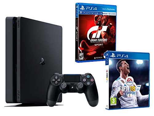 PS4 Slim 1To Noir Playstation 4 – FIFA 18 + Gran Turismo Sport « GT Sport »