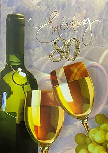 Einladungskarten 80. Geburtstag Frau Mann mit Innentext Motiv Weißwein 10 Klappkarten DIN A6 im Hochformat mit weißen Umschlägen im Set Geburtstagskarten Einladung 80 Geburtstag Mann Frau K175 (80. Geburtstag Einladungen)