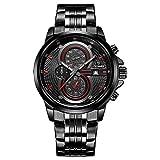 CADISEN Herren Armbanduhr Chronograph Kalender Quarz Wasserdicht Militär Schwarzes mit Edelstahl Armband Rot C9054MNNE