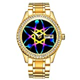 Diamantvergoldete Uhr Luminous Luxury Waterproof Einzigartige Gold-Armbanduhr 025.Atom