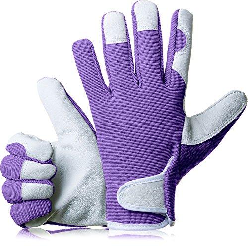 GardenersDream Leder Gartenarbeit / Arbeitshandschuhe - Mittel Bequeme Slim-Fit Premium Qualität Handschuhe - Ideal Geschenk für Männer, Frauen (Weiblich / Damen) an einem Jahrestag, Geburtstage oder Weihnachten (Pflaume Lila) Lila Bambus