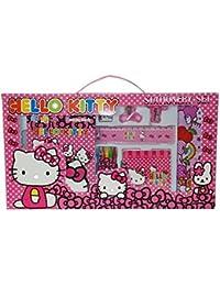 WonderKart® 10 In 1 Cartoon Printed Stationery & Birthday Return Gift Set For Kids - Dark Pink