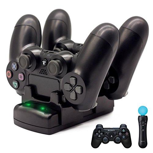 S3 Controller-Ladegerät, PS4 Pro/PS4 Slim/PS3/PS3 Move Controller Ladestation Ladestation Ständer USB Schnellladestation für Sony PS4/PS3 Controller, Schwarz ()