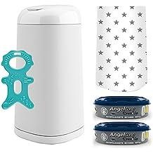 Angelcare® Dress-Up Starter-Set: Windeleimer + 2 Nachfüllkassette + Dress-Up Bezug Grey Stars