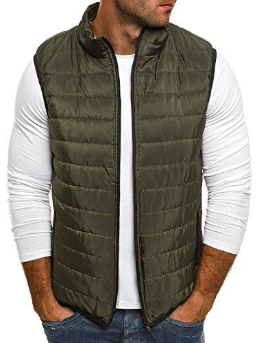 OZONEE Herren Weste Steppweste Bodywarmer Sweatjacke Übergangsjacke J.Style AK89 Khaki 2XL