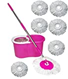 Eco Shopee Pink Steel Mop With 4 Micro Fiber
