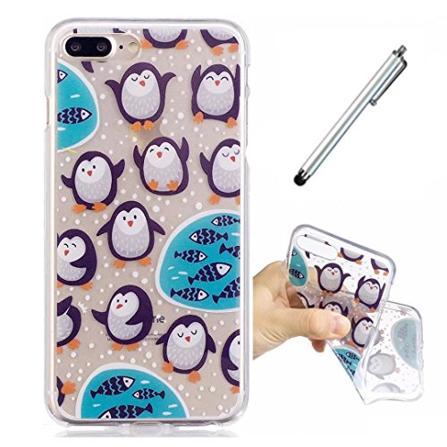 Lanpangzi Smartphone Schutzhülle iphone7 plus Weich Schale Klar Transparent Ultra Soft TPU Silikon Case Anti-Scratch Telefon-Kasten Protective Bumper Hülle - Pinguin + Metall Berühren Stift (Pokemon Bauch)
