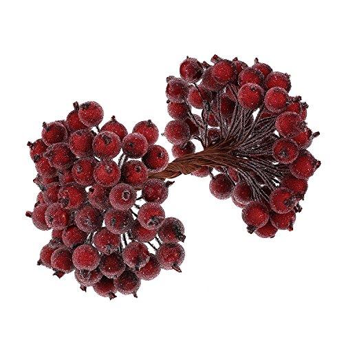 100 verkabelt Stems von künstlichen Holly Beeren Künstliche Blumendekor 200 Pack 12 mm Mini Christmas Frosted Fruit Berry (Dunkelrot)