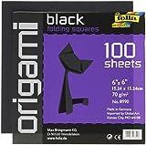GlobalArt Folia Origami Papier 6-inch-by-6-inch schwarz 100Blatt