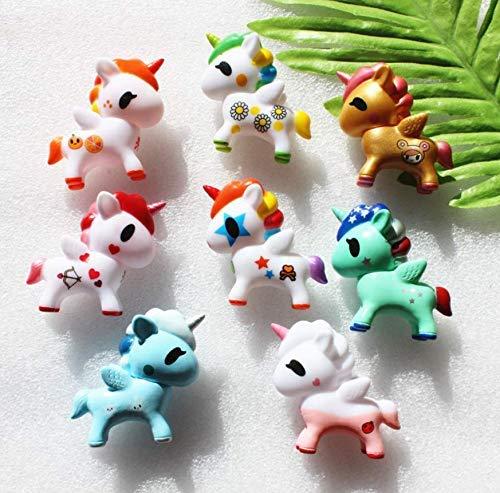 Astra Gourmet - 8 figuras de unicornio para decoración de tartas, juguete para niña, muñecas de cumpleaños, fiestas, baby shower, decoración de tartas