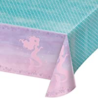 Creative Converting Party Supplies, Iridescent Mermaid Party Plastic Tablecloth, Tablecover, Iridescent, 0.01X102X54in