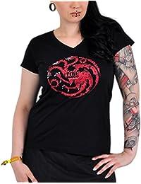 Game of Thrones House Targaryen Drachen Girlie Shirt zur HBO Serie T-Shirt Damen V-Neck schwarz