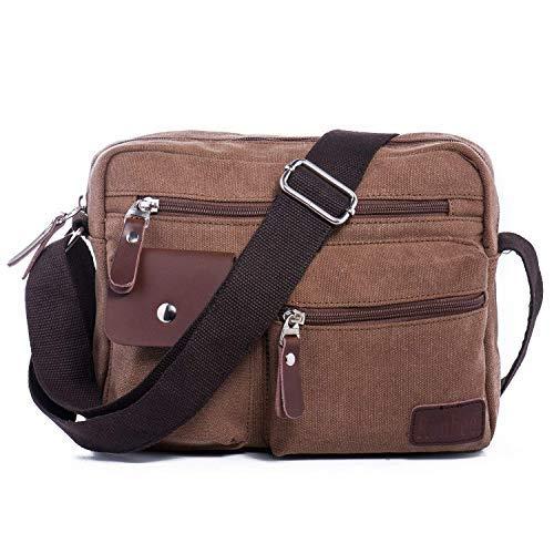 Canvas Schultertasche Kleine Herrentasche Umhängetasche Messenger Bag Schulter Reisetasche auch Freizeittasche Handtasche mit Vielen Fächern, Passt Für iPad Mini Hengwin (Braun)