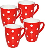 alles-meine.de GmbH 4 Stück _ Kaffeetassen / Henkeltassen -  Punkte - Rot & Weiß  - groß - 300 m..