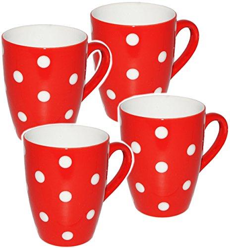Unbekannt 2 Stück _ Kaffeetassen / Henkeltassen -  Punkte - ROT & weiß  - groß - 300 ml - Keramik...