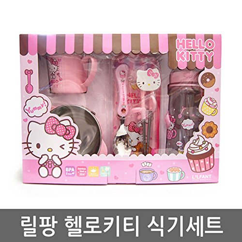 JISAM TRADE Hallo Kitty Mealtime 5P Sets Wasserflasche, Schüssel, Tasse oder Becher, Löffel, Chopstick Party Supplies Geschirr -