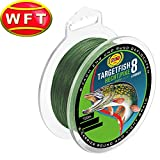 WFT TF8 Hecht green 150m - Hechtschnur zum Spinnfischen, geflochtene Angelschnur, Schnur zum Spinnangeln auf Hechte, Durchmesser/Tragkraft:0.18mm / 14kg Tragkraft