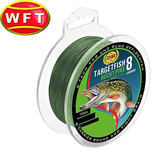 WFT TF8 Hecht green 150m - Hechtschnur zum Spinnfischen, geflochtene Angelschnur, Schnur zum Spinnangeln auf Hechte, Durchmesser/Tragkraft:0.15mm / 10kg Tragkraft
