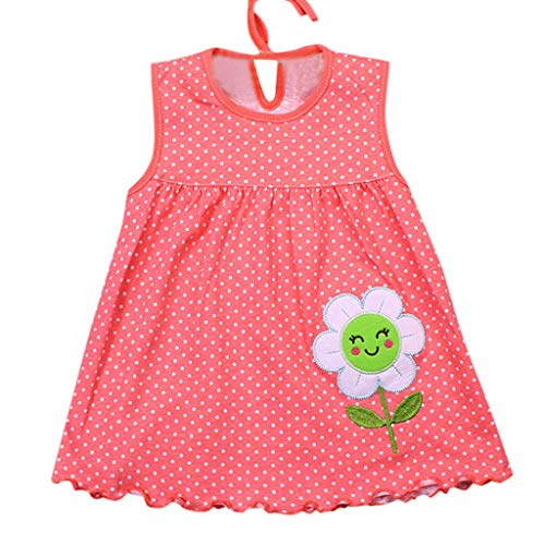 d KinderKinder Dot Floral Tees Kleid Ärmelloses Baumwolle Sommerkleid Party Prinzessin Dress Casual T-Shirt Kleid Cocktailkleid Sommerkleider ()