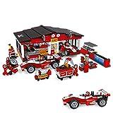 Ausini Juego de Bloques Taller, Boxes Fórmula 1 y 6 mecánicos, 852 Piezas, Multicolor (ColorBaby 42862)